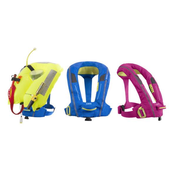 pink, yellow and blue Spinlock Deckvest Cento Junior Lifejacket