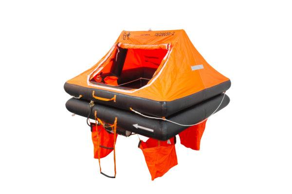 6 person orange and black liferaft